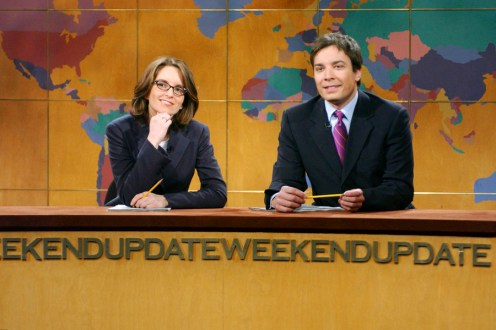 "SNL 40TH ANNIVERSARY SPECIAL -- Season 28, Episode 20 -- Pictured: (l-r) Tina Fey, Jimmy Fallon during ""Weekend Update"" on May 10, 2003 -- (Photo by: Mary Ellen Matthews/NBC)"