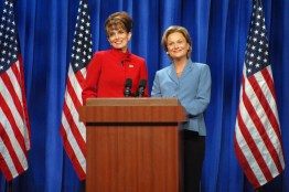 SNL 40TH ANNIVERSARY SPECIAL -- Season, 34, Episode 1532 -- Pictured: (l-r) Tina Fey as Governor Sarah Palin, Amy Poehler as Senator Hillary Clinton during the 'A Nonpartisan Message From Sarah Palin & Hillary Clinton' skit on September 13, 2008 -- (Photo by: Dana Edelson/NBC)