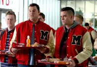 """GLEE: L-R: Dave (Max Adler, C) and Puck (Mark Salling, R) make fun of Kurt and Rachel in a flashback to 2009 in the special two-hour """"2009/Dreams Come True"""" Series Finale episode of GLEE airing Friday, March 20 (8:00-10:00 PM ET/PT) on FOX. ©2015 Fox Broadcasting Co. CR: Mike Yarish/FOX"""