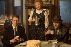 "GOTHAM: Gordon (Ben McKenzie, L) and Bullock (Donal Logue, R) follow a lead to a farmhouse in the country in the ""Everyone Has A Cobblepot"" episode of GOTHAM airing Monday, March 2 (8:00-9:00 PM ET/PT) on FOX. Also pictured: guest star Becky Ann Baker, C. ©2015 Fox Broadcasting Co. Cr: Jessica Miglio/FOX"