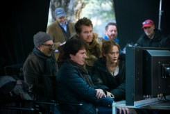 Producer John DeLuca and director Rob Marshall (center) with James Corden and Emily Blunt on the set of INTO THE WOODS, based on the Tony (R) Award-winning original musical classic by james Lapine, who also penned the screenplay, and legendary composer Stephen Sondheim, who provides music and lyrics.