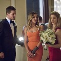 """Arrow -- """"Suicidal Tendencies"""" -- Image AR317A_0313b -- Pictured (L-R): Stephen Amell as Oliver Queen, Katie Cassidy as Laurel Lance, and Emily Bett Rickards as Felicity Smoak -- Photo: Katie Yu/The CW -- �© 2015 The CW Network, LLC. All Rights Reserved."""