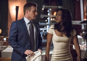 "The Flash -- ""All Star Team Up"" -- Image FLA118A_0276b -- Pictured (L-R): Rick Cosnett as Detective Eddie Thawne and Candice Patton as Iris West -- Photo: Cate Cameron/The CW -- © 2015 The CW Network, LLC. All rights reserved."