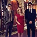 """The Flash -- """"All Star Team Up"""" -- Image FLA118A_0365b -- Pictured (L-R): Grant Gustin as Barry Allen, Emily Bett Rickards as Felicity Smoak, and Brandon Routh as Ray Palmer -- Photo: Cate Cameron/The CW -- �© 2015 The CW Network, LLC. All rights reserved."""