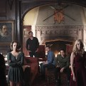 """The Vampire Diaries -- """"I'm Thinking of You All The While"""" -- Image Number: VD622b_0009.jpg -- Pictured (L-R): Ian Somerhalder as Damon (back to camera), Kat Graham as Bonnie, Matt Davis as Alaric, Zach Roerig as Matt, Michael Trevino as Tyler, Candice Accola as Caroline and Paul Wesley as Stefan -- Photo: Annette Brown/The CW -- �© 2015 The CW Network, LLC. All rights reserved."""