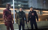 """The Flash -- """"Rogue Air"""" -- Image FLA122B_0161b -- Pictured (L-R): Grant Gustin as Barry Allen / The Flash, Stephen Amell as Oliver Queen / Arrow and Robbie Amell as Ronnie / Firestorm -- Photo: Diyah Pera/The CW -- �© 2015 The CW Network, LLC. All rights reserved."""