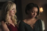 """The Vampire Diaries -- """"I'm Thinking of You All The While"""" -- Image Number: VD622b_0276.jpg -- Pictured (L-R): Candice Accola as Caroline and Kat Graham as Bonnie -- Photo: Annette Brown/The CW -- © 2015 The CW Network, LLC. All rights reserved."""