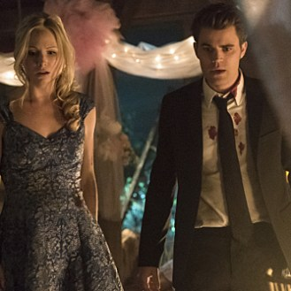 """The Vampire Diaries -- """"I'm Thinking of You All The While"""" -- Image Number: VD622a_0647.jpg -- Pictured (L-R): Candice Accola as Caroline and Paul Wesley as Stefan -- Photo: Tina Rowden/The CW -- �© 2015 The CW Network, LLC. All rights reserved."""