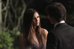 """The Vampire Diaries -- """"I'm Thinking of You All The While"""" -- Image Number: VD622c_0264.jpg -- Pictured (L-R): Nina Dobrev as Elena and Ian Somerhalder as Damon (back to camera) -- Photo: Annette Brown/The CW -- © 2015 The CW Network, LLC. All rights reserved."""
