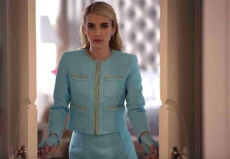 """SCREAM QUEENS: Emma Roberts as Chanel Oberlin in """"Pilot,"""" the first part of the special, two-hour series premiere of SCREAM QUEENS airing Tuesday, Sept. 22 (8:00-10:00 PM ET/PT) on FOX. ©2015 Fox Broadcasting Co. Cr: Steve Dietl/FOX."""