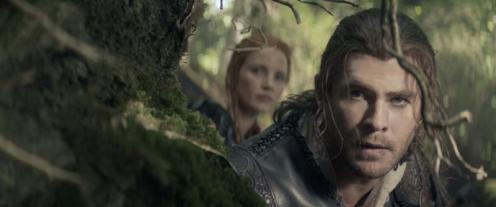 The Huntsman Winter's War Image Still; Featuring Chris Hemsworth as The Huntsman and Jessica Chastain as Sara The Warrior