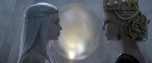 The Huntsman Winter's War Image Still; Featuring Charlize Theron is The Evil Queen and Emily Blunt as Freya The Ice Queen. Photo Credit: Universal Pictures