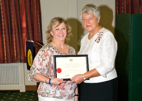 Captain Angela Brady with Gloucestershire's Lord-Lieutenant, Dame Janet Trotter DBE