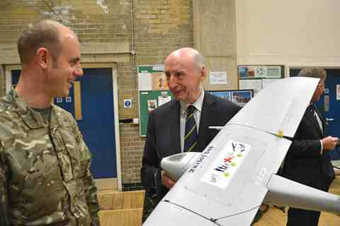 Don Cameron MBE, of Cameron Balloons, with a mini unmanned air system (MUAS) which will be part of a new surveillance role for 266 Battery (Gloucestershire Volunteer Artillery) Royal Artillery.