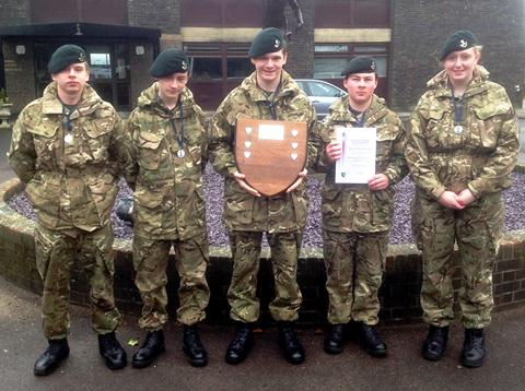 Taunton Cadets with their second place trophy. From left: Owen Allsopp, Elliott Porter, Team Leader Wesley Williams, Tyler Griffiths and Georgina Hudson.