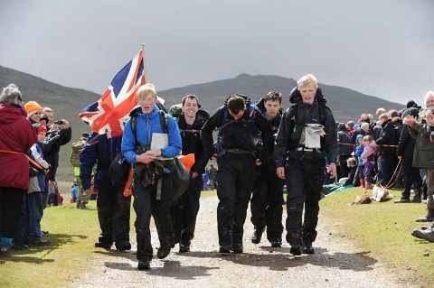 Cadets approaching the finish line at Ten Tors 2014