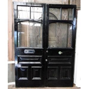Pair of black period external doors