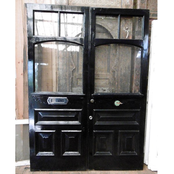 Pair of black period external doors