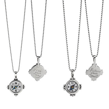 Hand Engraved Compass Necklace