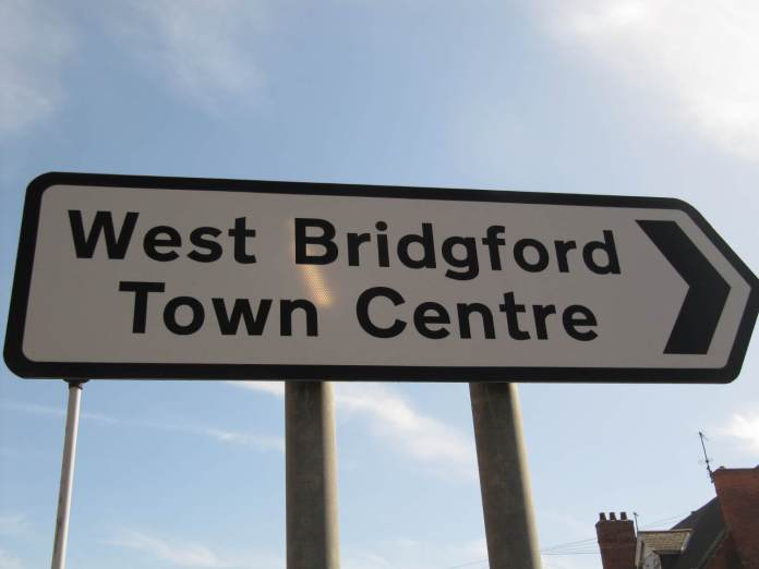 West Bridgford Town Centre sign