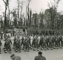 September 9th, 1945. Victory Parade in Berlin, the ruins of the Reichstag in the background.