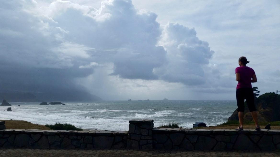 Storm clouds over wavy ocean