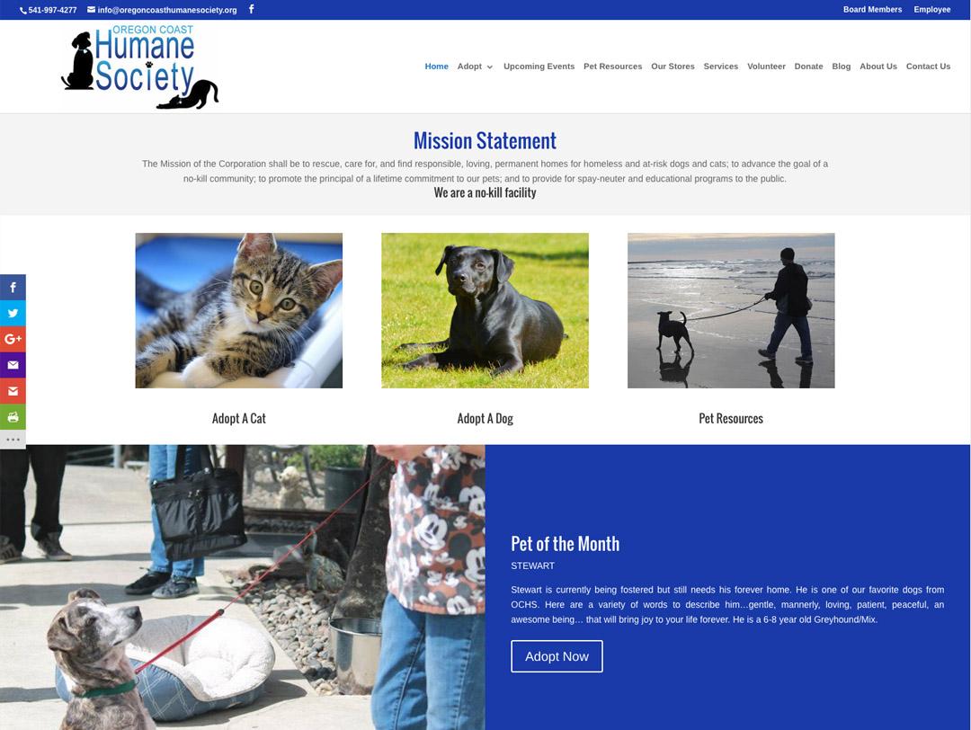 Oregon Coast Humane Society – Website