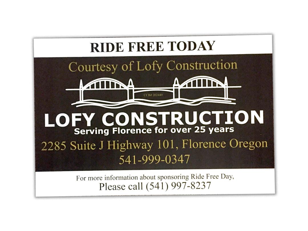 Lofy Construction – Ride Free Sign