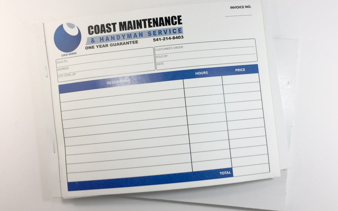 Coast Maintenance – NCR Forms With Wrap-Around Cover