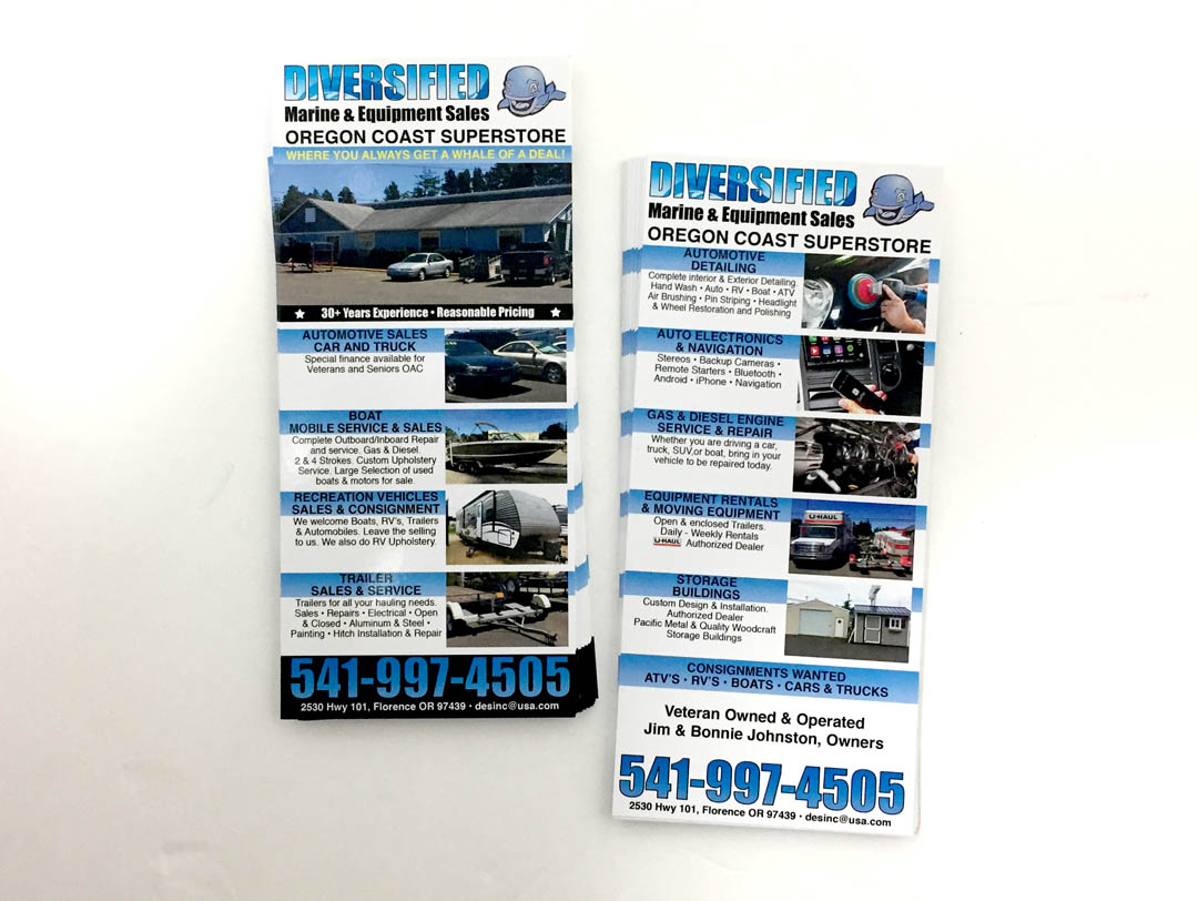 Diversified Marine & Equipment Sales – Rack Card