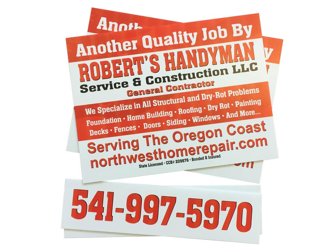 Roberts Handyman – Yard Sign with Rider Sign