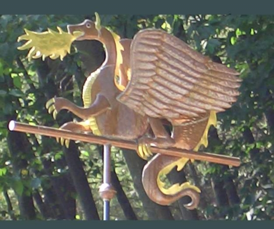 Fire Breathing Dragon Weathervane Handmade Of Copper