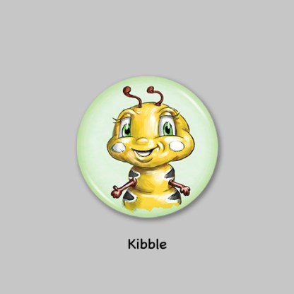 kibble button pin from kibble the monarch caterpillar afraid to get wings