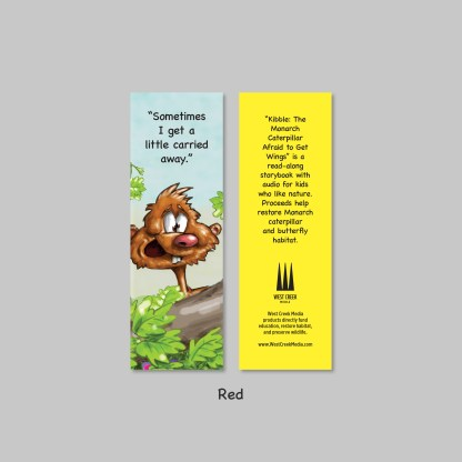 red bookmark from kibble the monarch caterpillar afraid to get wings