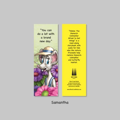 samantha bookmark from kibble the monarch caterpillar afraid to get wings