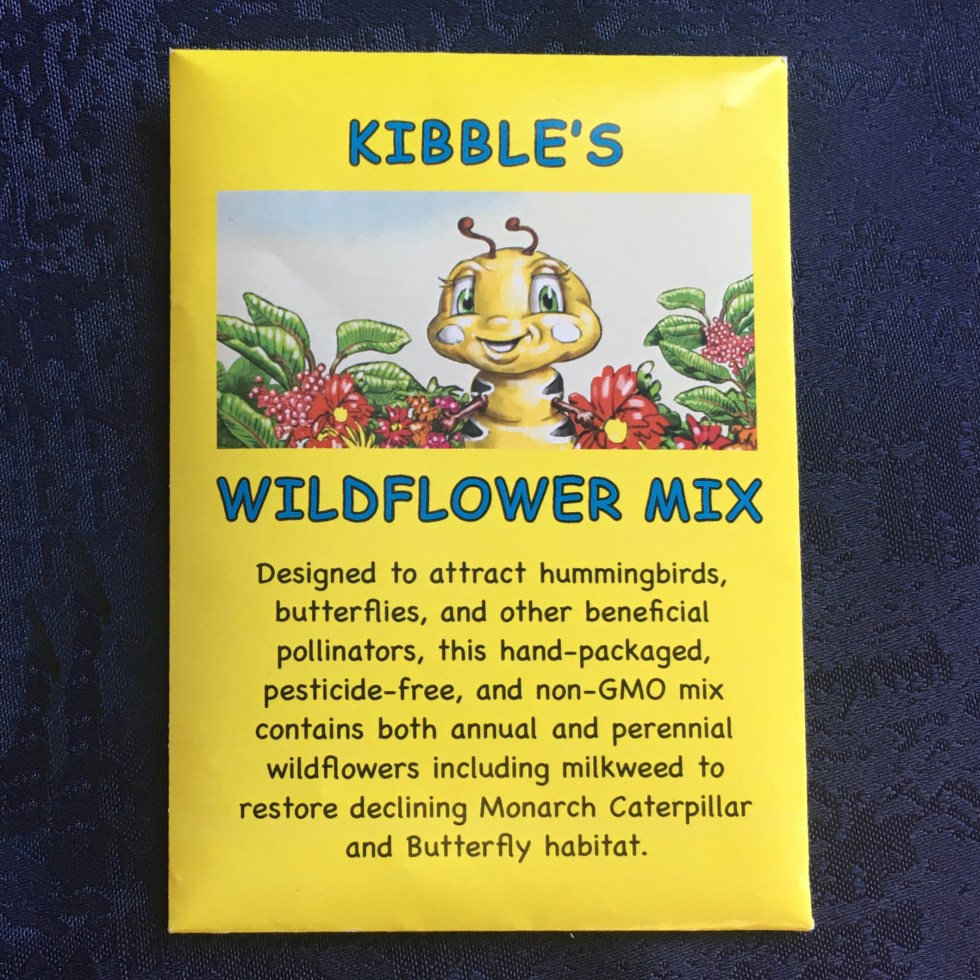 Kibble the Monarch Caterpillar Afraid to Get Wings wildflower seed mix packet.