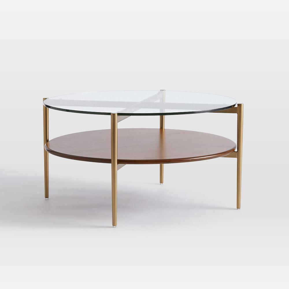 mid century art display round coffee table