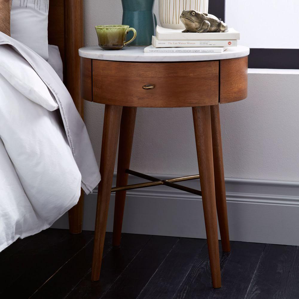 penelope bedside table acorn w marble top