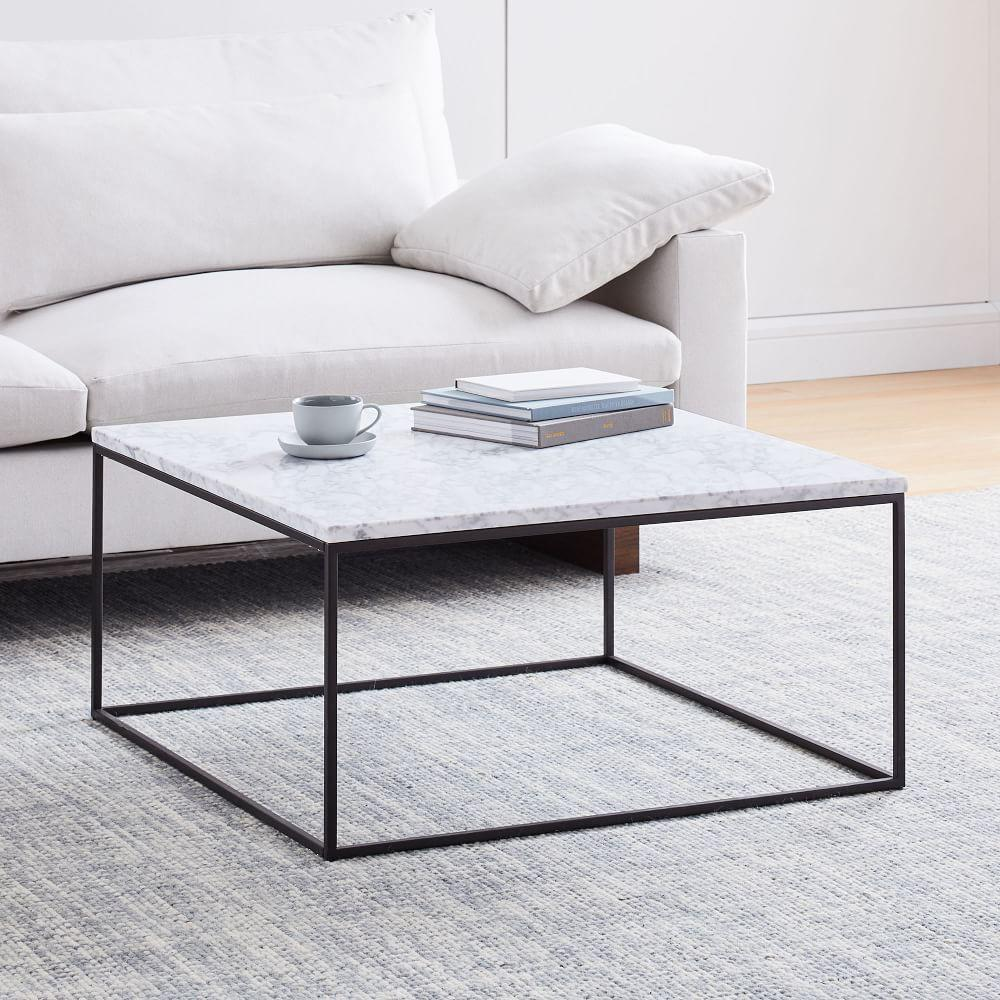 streamline square coffee table marble