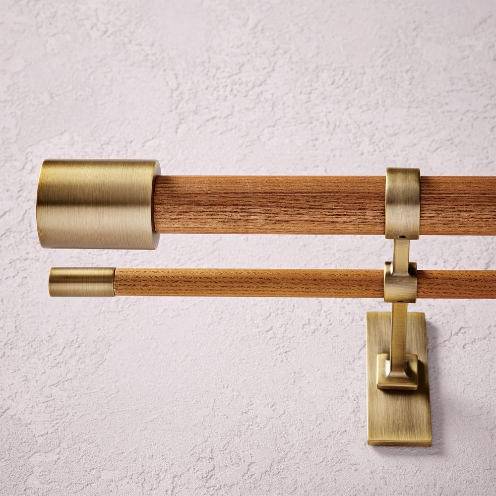 mid century wooden double curtain rod wood brass