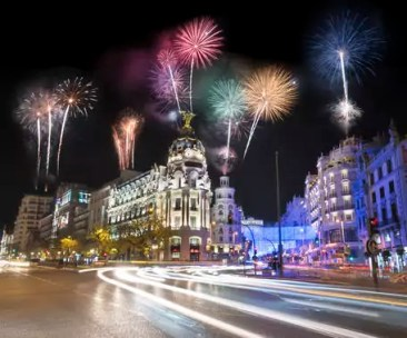 Spain, Madrid, firework display at night