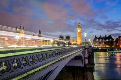 United Kingdom, England, London, River Thames, Westminster Bridge, Big Ben and Palace of Westminster in the evening light