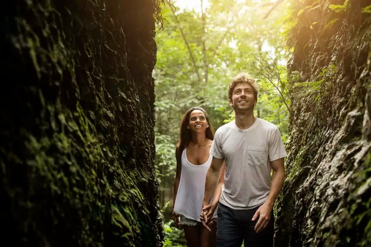 Couple looking up while walking in forest