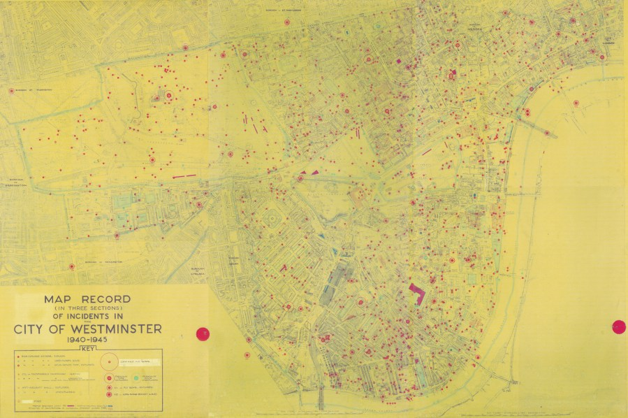 Bomb Map Record of Incidents in the City of Westminster 1940 1945     Photo Map Record of Incidents in the City of Westminster