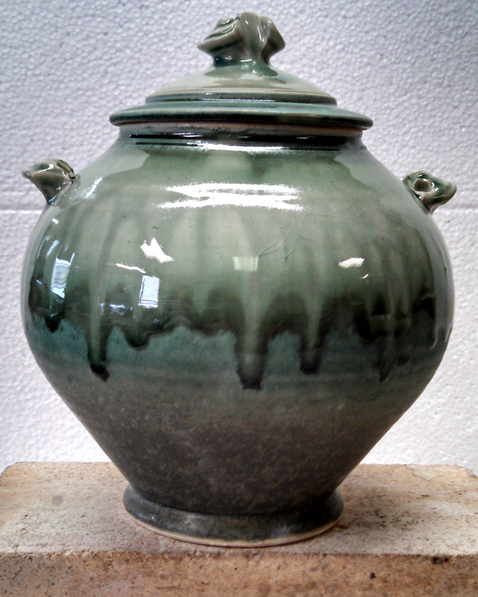 "Richard Aerni ""Green Jar"" ceramic $100."