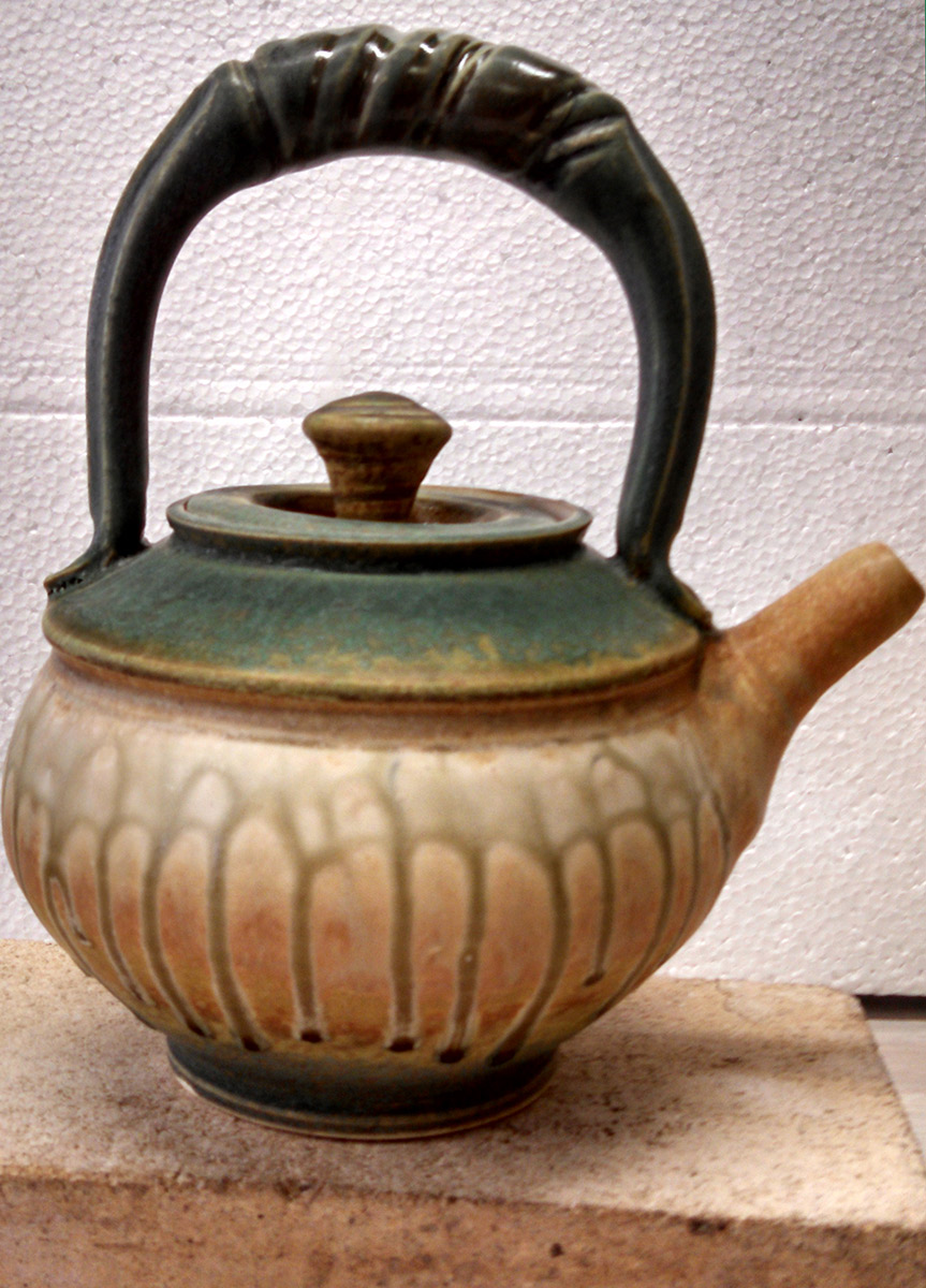 "Richard Aerni ""Green Tea Pot"" ceramic $140."