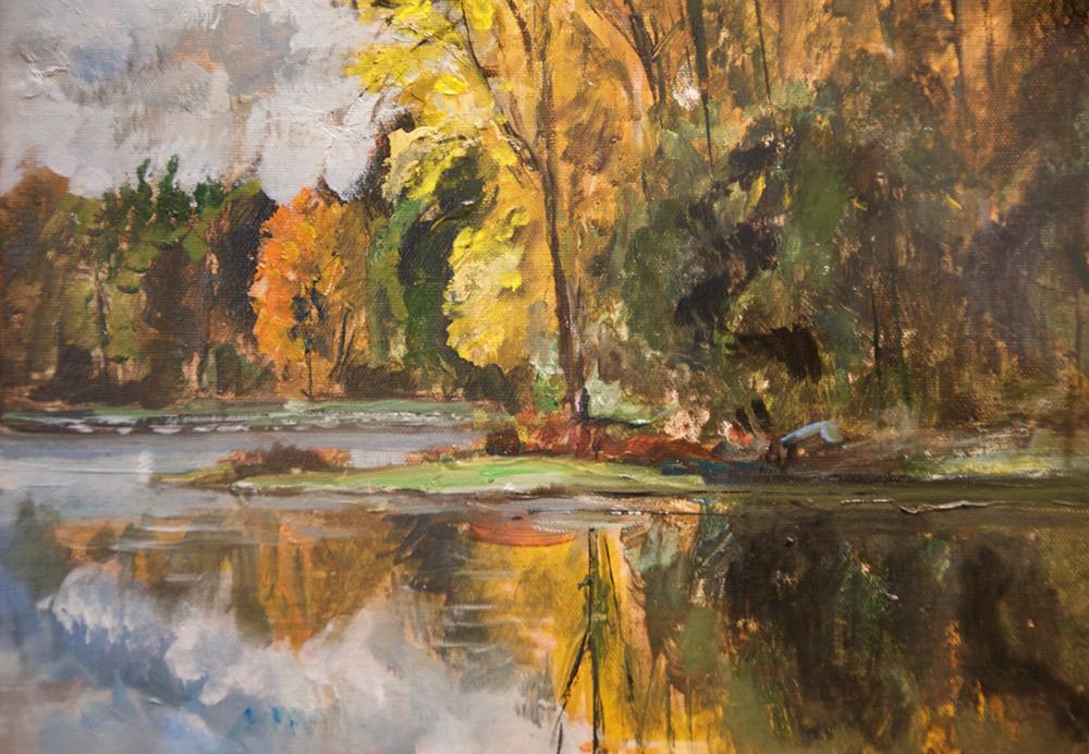 "Bruce Baxter ""Autumn Reflected"" 11x14 oil $700."