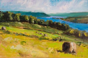 "Bruce Baxter ""Hay Bale Over Bluff"" 18x24 oil $1,100."