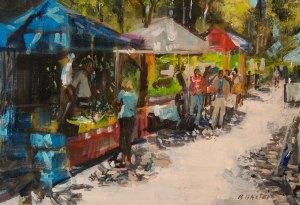 "Bruce Baxter ""Market Day"" 16x20 oil $900."