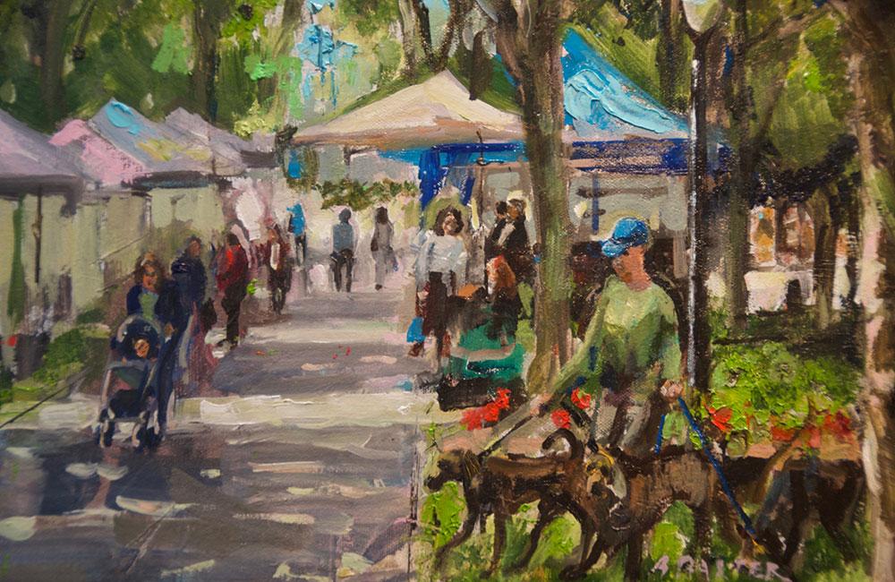 """Bruce Baxter """"Market Day - Dog Walk"""" 12x16 oil $800."""